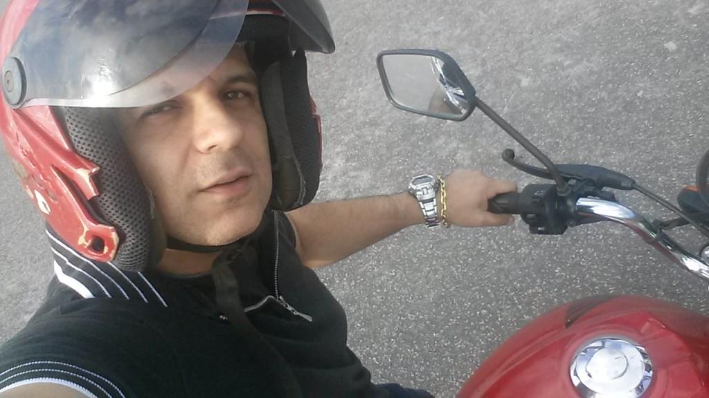 Primeiro dia da aula prática de moto.