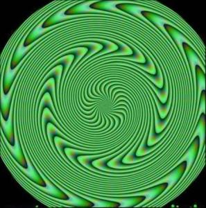 Olhe para esta figura: o verde e o preto sozinhos não conseguem a sensação de movimento, mas quando agrupados desta maneira...